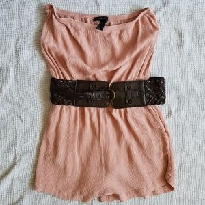 Forever 21 Peach Strapless Romper With Pockets SM